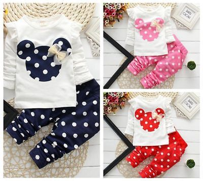 Mickey Newborn Baby Girls Mouse Outfits Clothes T-shirt Tops Long Pants 2PCS Set