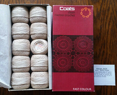Coats Chain Mercer Crochet Fast Color Vintage Cotton Thread No 610 10x 20g Balls