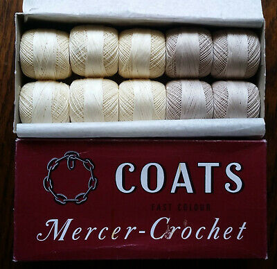 Coats Chain Mercer Crochet 40 & 20 Vintage Cotton Thread 610 10x20g Balls