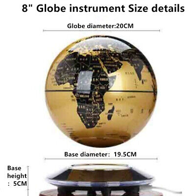 Home Room Decor Floating World Globe Map Magnetic Levitation With LED Light 8""