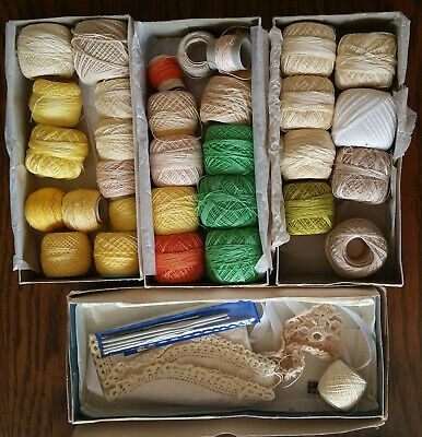 Coats Chain Mercer Vintage Crochet Cotton & Crochet Hooks Bulk Mixed Lot