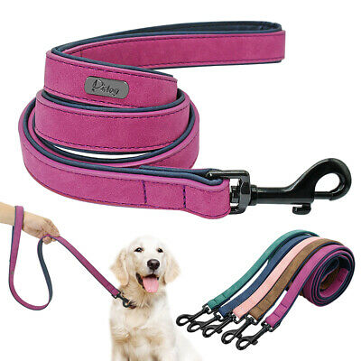 4ft Soft Leather Dog Lead Leash with Padded Handle for Walking Medium Large Pets