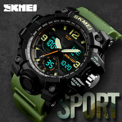 "SKMEI Men""s Sports Waterproof Digital Analog Dual zone Quartz Military Watch USA"