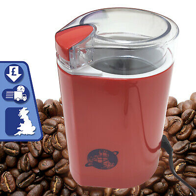 Electric Coffee Beans Grinder Spice Mixer Crusher RED with Clear LID 150W