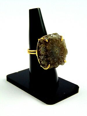 18K Gold Plated Ring Solar Druzy Stone Prong Setting Alloy Adjustable Jewelry