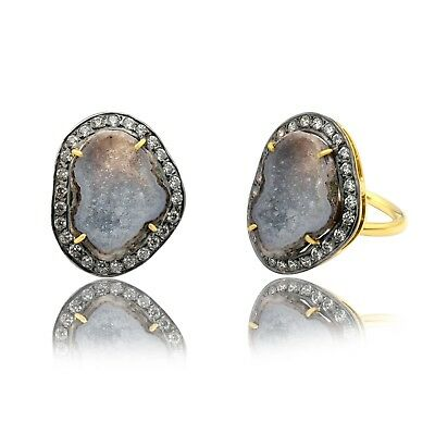 Gold Plated Pave Diamond Geode Gemstone Druzy Ring Overlay Jewelry 21 mm S-136