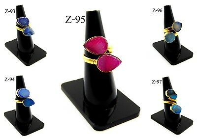 18K Gold Plated Multi Sugar Druzy Two Stones Alloy Bezel Rings Overlay Jewelry