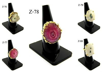 Gift 18K Gold Plated Multi Solar Druzy Stones Alloy Prong Rings Overlay Jewelry