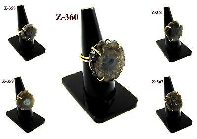 18K Gold Plated Solar Quartz Druzy Prong Black Color Ring Alloy Overlay Jewelry