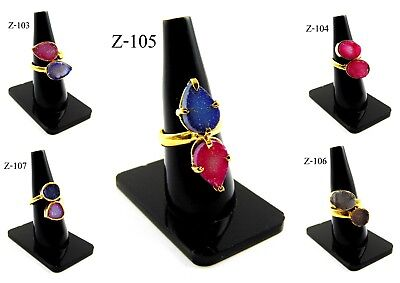 24K Gold Plated Multi Sugar Druzy Two Stones Alloy Bezel Rings Overlay Jewelry