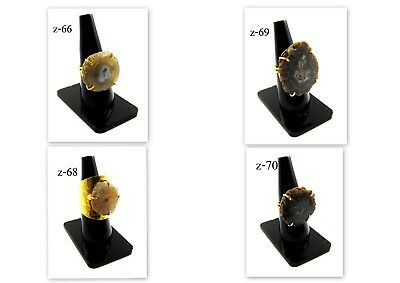Fabulous 18K Gold Plated Solar Druzy Stones Alloy Prong Rings Overlay Jewelry