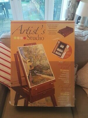 Easel With Paints Folds Into Case Boxed 33 Pieces New