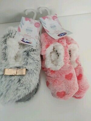 Snuggle Slippers BNWT Pink and grey set  Girls Xmas Gift size 12/13