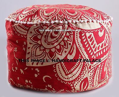 "Indian Indian Pom Lace Antique Pouffe 24"" Gold Ombre Mandala Foot Stool Ottoman"