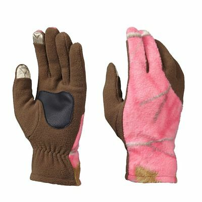 Realtree Pink Camo Ladies Shooting Gloves, Hunting Touch Camouflage Fleece