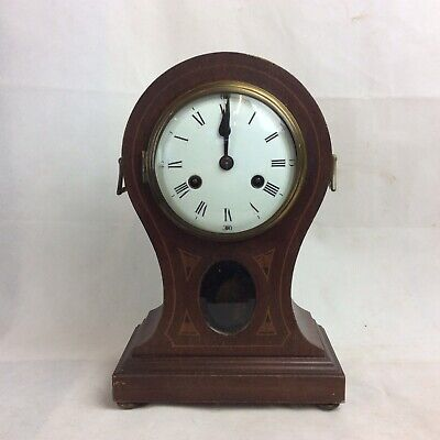Vintage Philipp Haas and Sohne Balloon Mantle Clock with strike. Mahogany Case