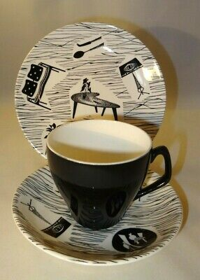 """Ridgway Homemaker Trio 3.25"""" Cup Saucer Plate Early Backstamp 1960 Angled Handle"""