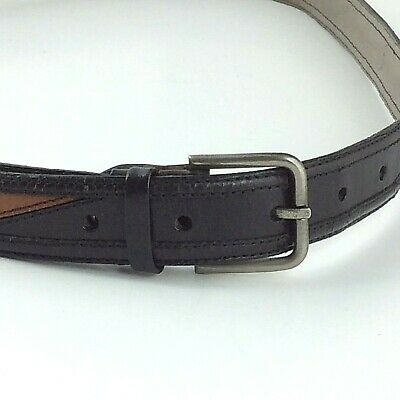 Cambi /& Co Mens Woven and Leather Belt in Dark Green