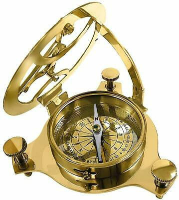 "Antique Nautical Brass Sundial Compass 4""- new year gift antique compass SHINY"