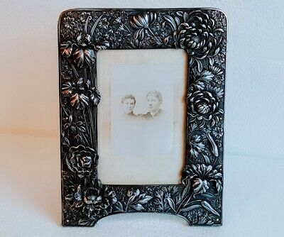 Victorian Art Nouveau Aesthetic Movement Silver Plate Easel Back Picture Frame