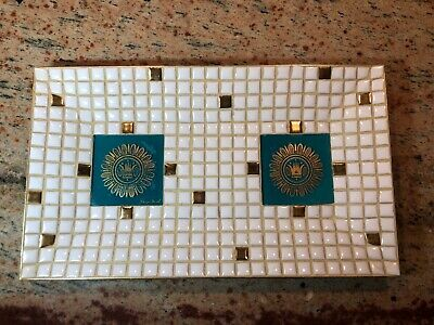 Vintage Mid Century Modern Georges Briard Mosaic Tile Tray Dish White Teal Gold