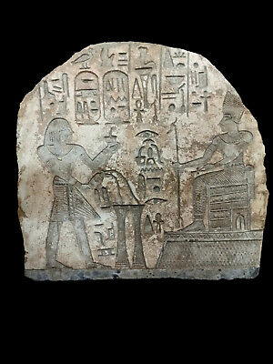 Massive Plaque Stela Rare Wall Art Egyptian Antique King Menes W/T Hieroglyphics
