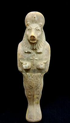 Egyptian Antiquities Sekhmet Ancient Amulet Faience Unique Pottery Statuette