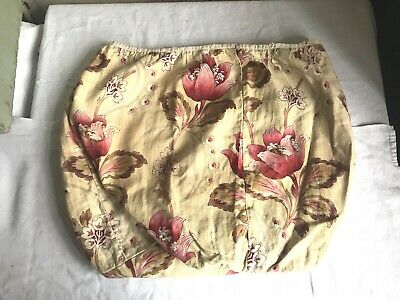 Vintage French Fabric Floral Pink Yellow Panel Cotton Furnishing Remnant Textile