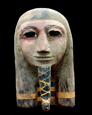 Pretty Wooden Mask Statue Ancient Egyptian Antique Hieroglyphic Bust Mummy Bead