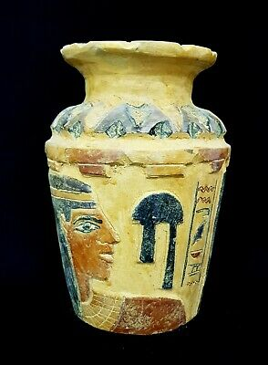 Rare Vessel Egyptian Ancient Egypt Stone Old Kingdom Faience Bc Antique Vase