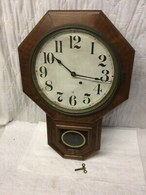 Antique Seth Thomas Octagon School House Wall Clock with Time Only Movement