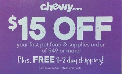CHEWY: $15 Off your First Order of $49 - Discount Online Code Card [2/29/20]