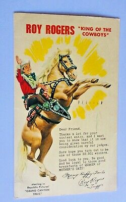 Roy Rogers King Cowboys Grand Canyon Trail Movie Contest Entry, 1948 Postcard