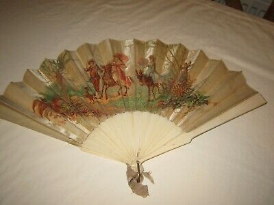 Antique French Lauronce fan - satin silk with lithograph & signed