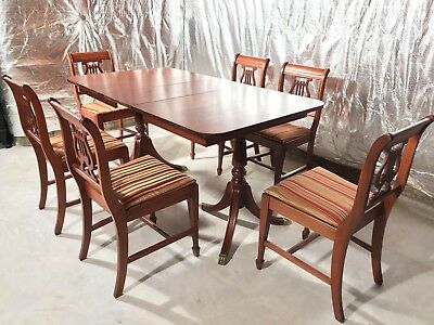 1900's 8 PC Sheraton Style Dining Room Table 6 Chairs & Leaf