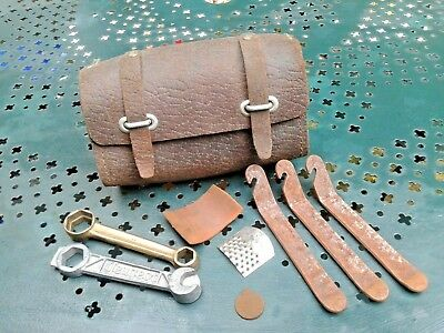 ancienne trousse a outils en cuir /  mobylette moto cycles leather tool bag