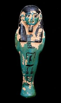 Rare Huge Ancient Ushabti Egyptian Faience Bc Shabti Egypt C Antique Statue art