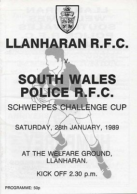 Jan 89 LLANHARAN v SOUTH WALES POLICE Schweppes Welsh Cup