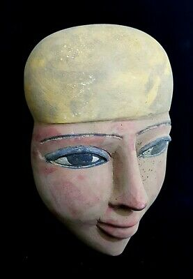 Stunning Stone Mask Statue Ancient Egyptian Antique Hieroglyphic Bust Mummy Bead