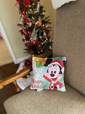NWT Disney Parks Retro Mickey Mouse Happy Holidays Christmas Square Pillow