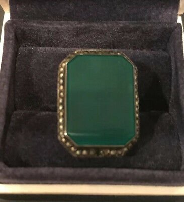 Antique Art Deco Sterling Silver Green Onyx Marcasite Ring Size 4.75