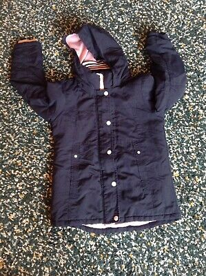 Size: Age 9-10 Years - Girls Navy Blue Hooded Coat Jacket from Next -VGC RRP 39£