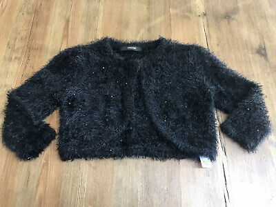 Girls Black Fluffy Furry Cardigan Cropped Sequinned Dressy Party Age 7-8 Years
