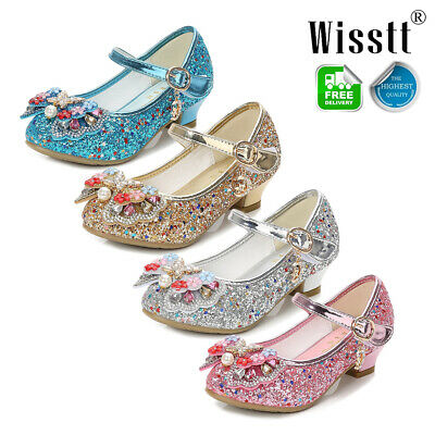 Girls Kids Children Low Heel Party Mary Jane Knotbow Diamante Sandals Shoes Size