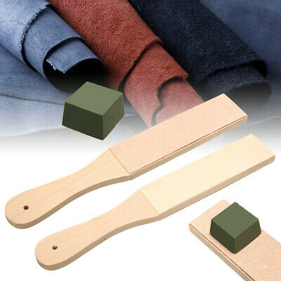 Dual Sided Leather Blade Strop Knife Razor Sharpener with Polishing Compound Kit