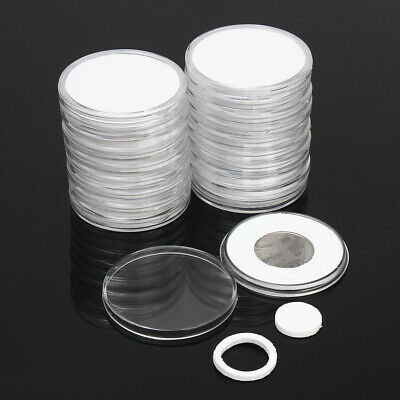 20pcs Transparent Round Coin Holder Portable Coins Storage Case Box Container