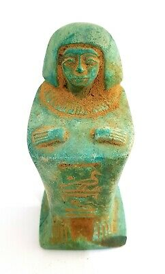 Hieroglyphic Egypt Seated Scribe Seated Egyptian Antique Carved Green Sculpture