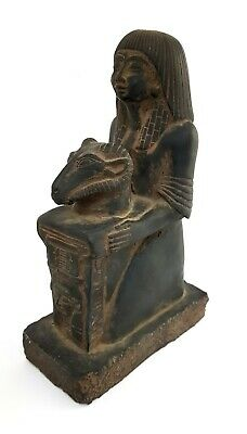 Hieroglyphic Seated Sculpture Egyptian Antique Isis Hathor Holding Khnum Khufy