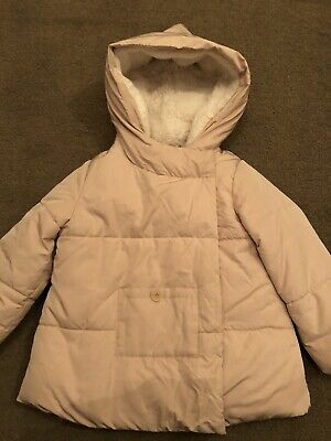 Girls Padded Dusky Pink Zara Winter Coat, Fur Lining, Age 3-4, Removable Mittens