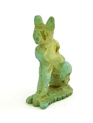 Bast Amulet Ancient Egypt Antiques Rare Faience Hieroglyphic Necklace Bastet Cat